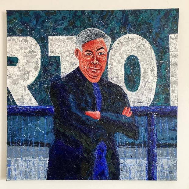 Warrington Guardian: Lee's painting of Everton manager Carlo Ancelotti
