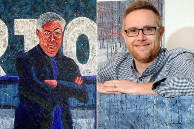 Artist Lee Summerfield, right, and his painting of Everton manager Carlo Ancelotti