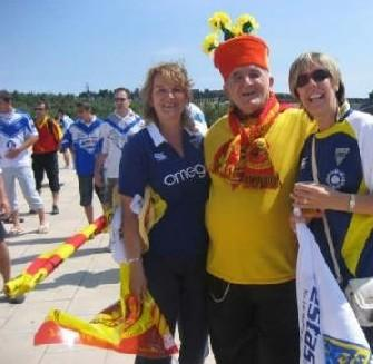 Warrington Wolves and Catalan Dragons fans mixing before the game at Olympic Stadium in Barcelona