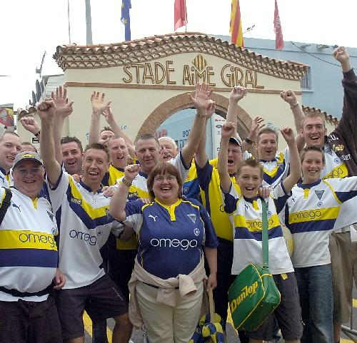 Warrington Wolves supporters arrive at the Stade Aimé Giral