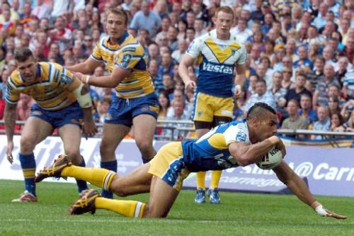 Warrington Guardian: Ryan Atkins in the act of scoring his first ever Wembley try. Pictures by Dave Gillespie