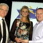 Warrington Sports Personality of 2010 Abigayle Fitzpatrick, presented with her award by Carl Baldwin, Sales Manager, Barclays Motors Ltd, with compere Bob Williams watching on. Pictures by Mike Boden