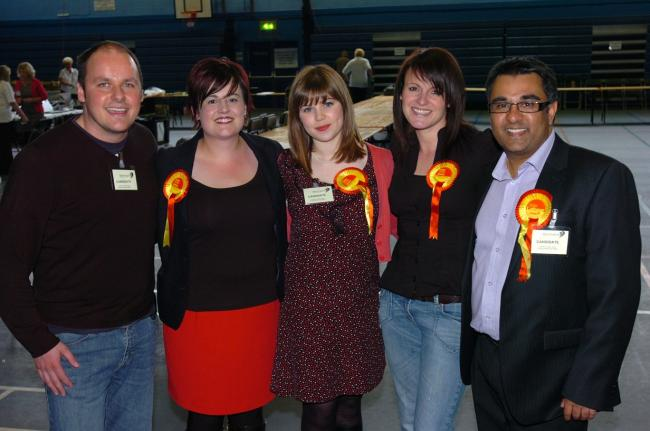Natalie Douglas, pictured centre, after winning the Westbrook seat in May
