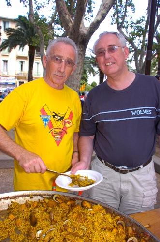 John Woodward, the 100,000th visiting fan, tucks into the paella. Pictures by Mike Boden