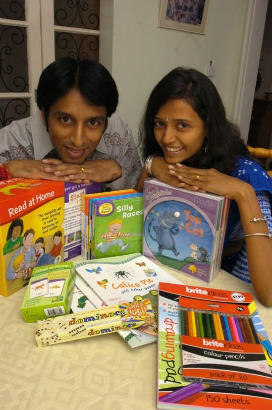 Gautam and Krutika Patel with some of the learning tools that have been donated