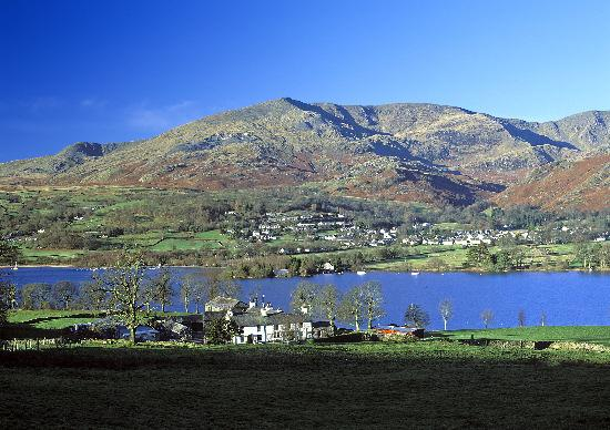 Warrington Guardian: Looking across Coniston Water to Coniston Village and Coniston Old Man
