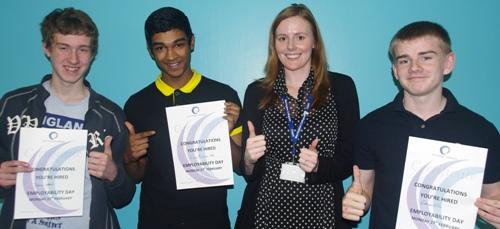 Dylan Waters, Suman Rahman-Ali, Finn Eaves – careers and higher education adviser at Warrington Collegiate and pupil Nathan Hill