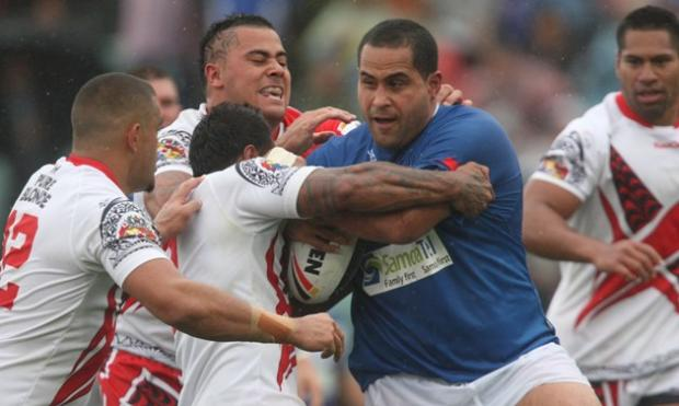 Wolves' David Solomona playing for Samoa in 2010
