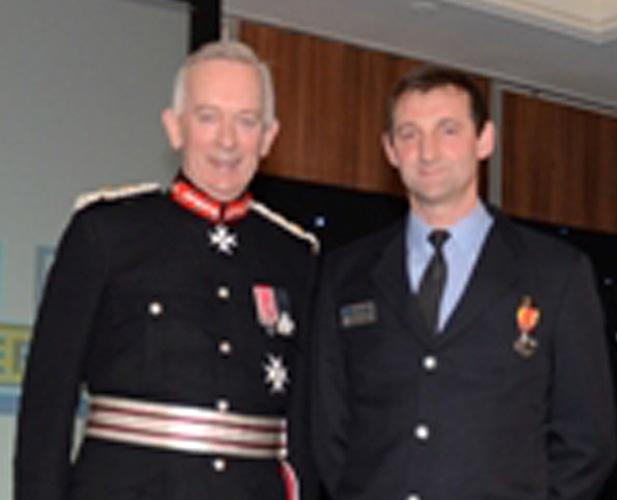Andrew Hinde with Cheshire's Lord Lieutenant David Briggs