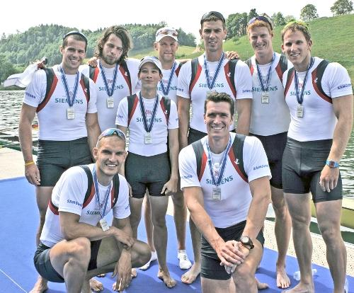 The Team GB men's eight with their silver medal in Lucerne, Switzerland, on Sunday. Richard Egington is stood third from the right. Picture courtesy of Intersport Images/GB Rowing Team