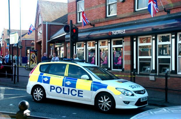 Police at the Natwest in Stockton Heath