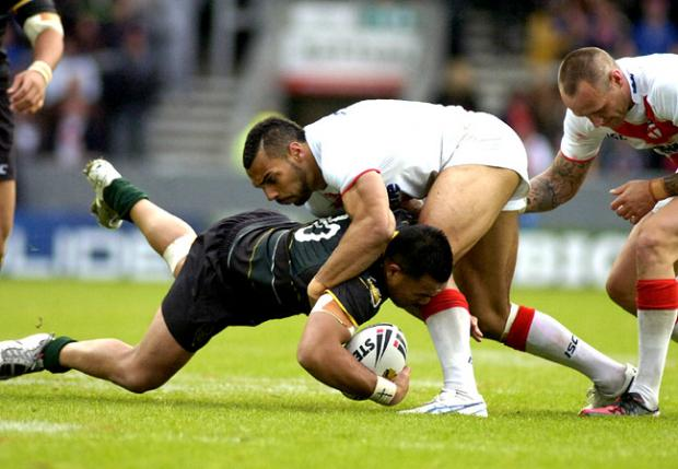 Ryan Atkins in action for England against the Exiles. Pictures by Mike Boden