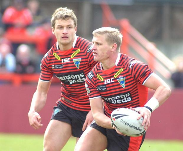 Jordan Burke, left, and Brad Dwyer making their Challenge Cup debuts for Warrington Wolves at Keighley this season. Pictures by Mike Boden