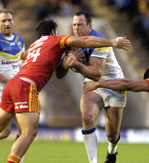 Adrian Morley in the midst of a 'tough hard game of rugby league' against Catalan Dragons last night