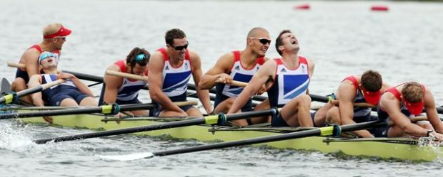 Richard Egington, fourth from left, with the TeamGB men's eight crew after they gave their all in the Olympic final. Picture by Matt Writtle/NOPP