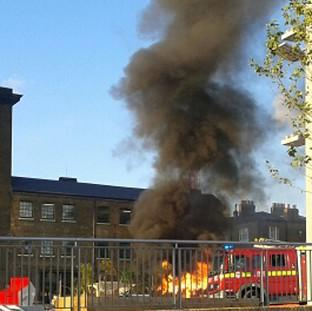 A fire at Kiwi House near King's Cross in central London after a gas canister being used for a barbeque exploded