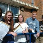 Students at Bridgewater High School after collecting A-level results