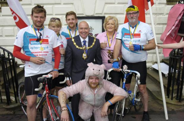 The finish of the ride at Warrington Town Hall