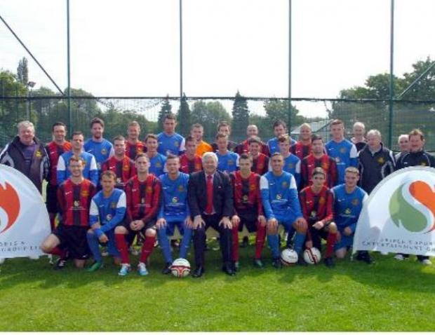 Rylands' first and second team squads pictured with new sponsor Paul Stretford