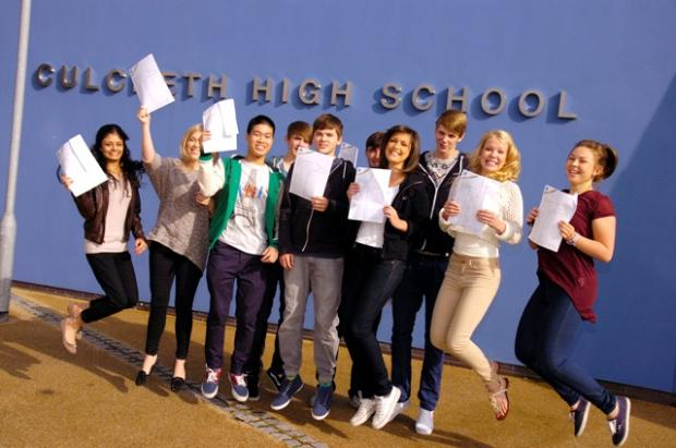Warrington Guardian: These 16-year-olds at Culcheth High School were jumping for joy after collecting GCSE results