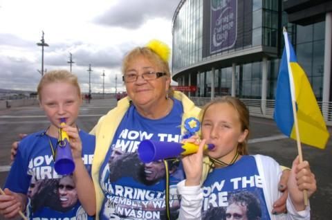Kayleigh and Sophia with nana  Bettie Ritchie outside the stadium