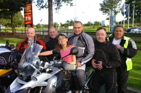Lee with daughter Robyn and his fellow riders Jason Mather, Andrew Griffiths, Martin Trump and Dave Smith, the day before they set off
