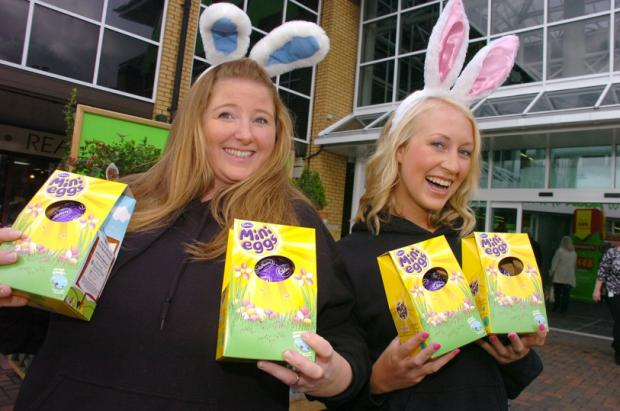 Marie Dumencic and Clare Grimes with their Easter eggs