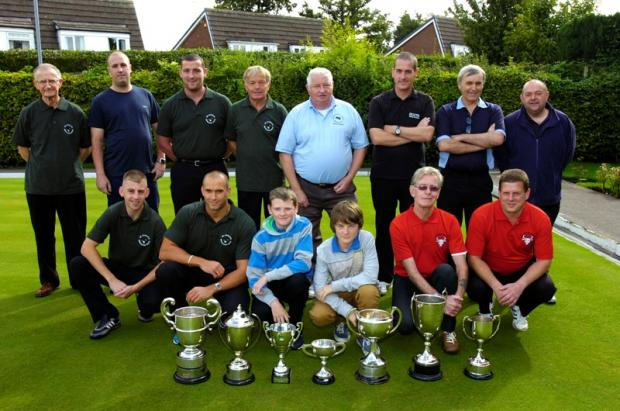 Bowlers line up before the Warrington and North Cheshire Bowls Association finals.