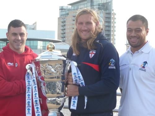 Warrington and Wales winger Rhys Williams, left, with England's Eorl Crabtree, centre, and Samoa's Tony Puletua