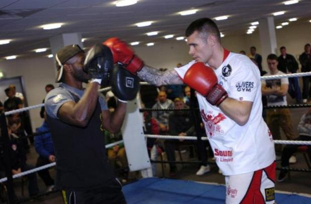 Martin Murray, right, spars during a public workout at St Helens' Langtree Par at the weekend.	Picture: IAN PARK IPd811