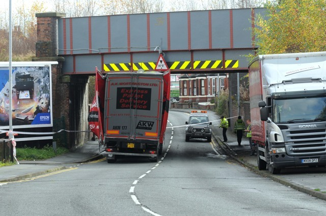 PICS ADDED Lorry stuck under Marsh House Lane bridge