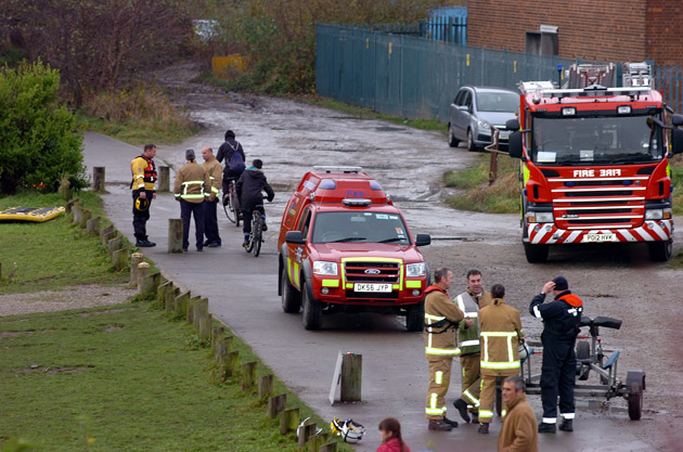 The emergency services at the scene on Saturday