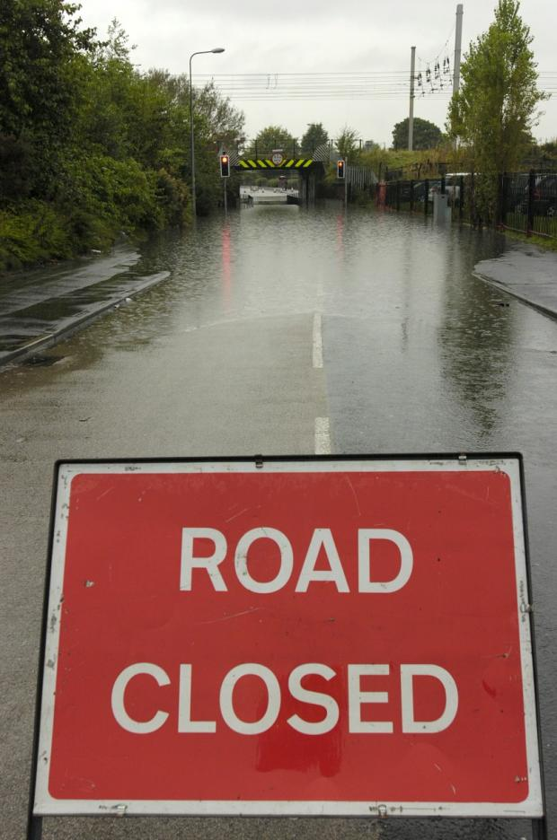 Warrington Guardian: Hawleys Lane in Dallam was under water