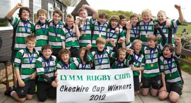 Lymm under 13s celebrate winning the Cheshire Cup for a third year running during 2012