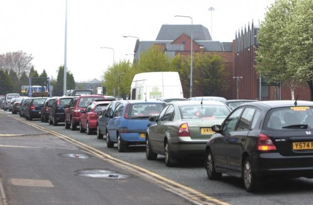 Traffic chaos due to burst water main on Chester Road in Higher Walton