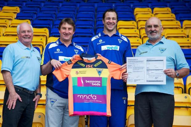 From left, Godfrey Gwilliam, Tony Smith, Adrian Morley and Roy Chicken pose with the 2012 MNDA Charity shirt