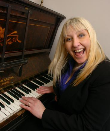 Lorraine Bradley with the piano