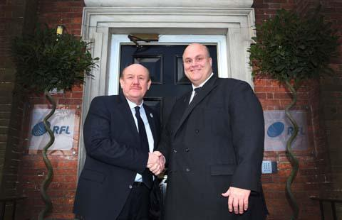 Brian Barwick (left) and RFL chief executive Nigel Wood