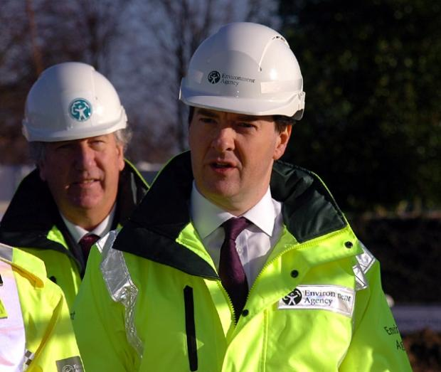 George Osborne at the Latchford flood defences