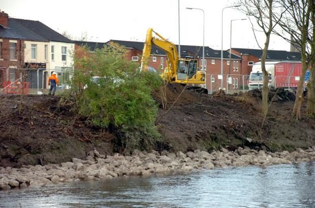 The work at the flood defences on Knutsford Road