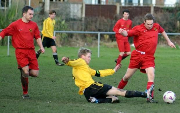 Moore United hosted Egerton in Division Two of the Cheshire Football League and lost 2-1.   Picture Mike Boden mbs160213