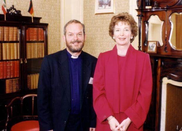 Rev Stephen Kingsnorth at the Town Hall with former Irish president Mary Robinson in 1996