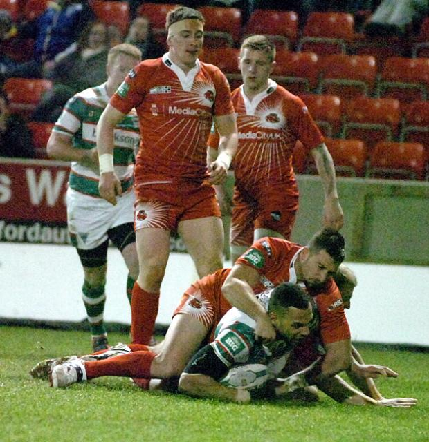 Opening try from Ryan Atkins. Pictures by Mike Boden