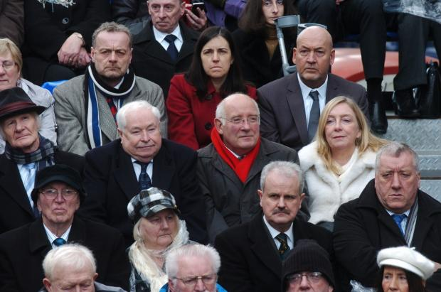 Lord Hoyle and Mike Hall, with scarf, pictured centre at Saturday's event