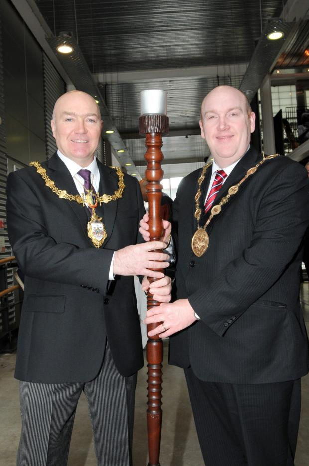 Mayor Clr Steve Wright with Lisburn Mayor Alderman William Leathem