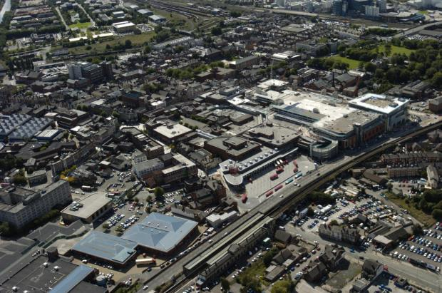 Warrington Central Station from the air