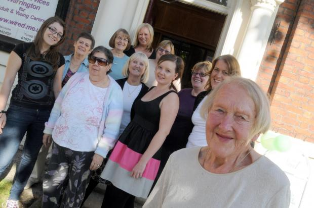 Warrington Guardian: Lillian Moors with friends and fellow volunteers