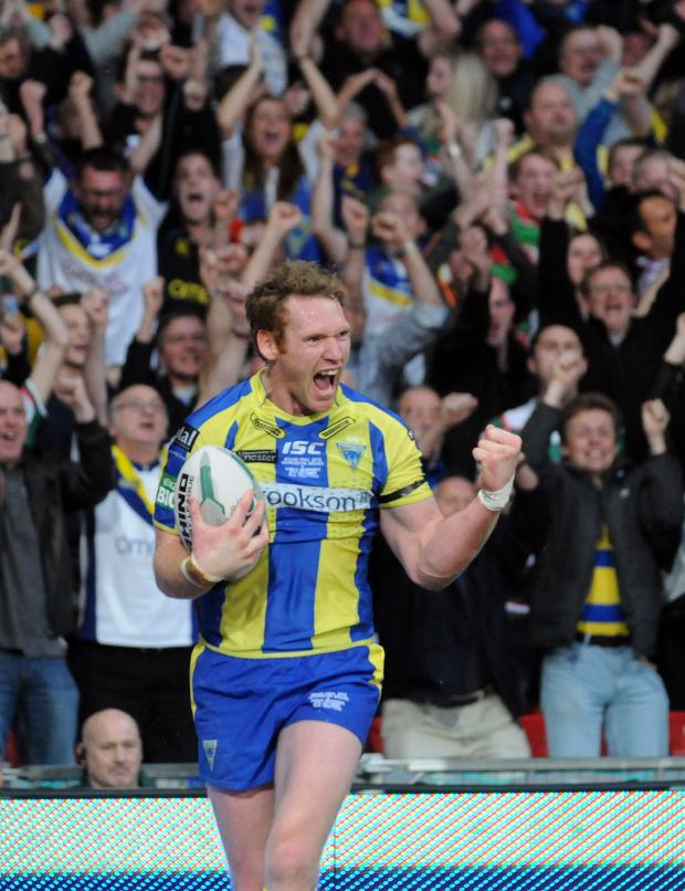 Warrington Guardian: Joel Monaghan celebrates the opening try. Pictures by Mike Boden and Dave Gillespie