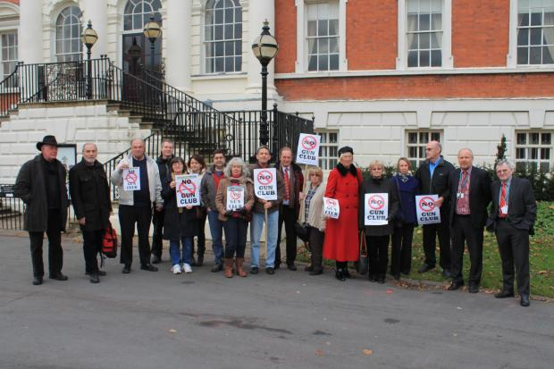 Residents protest outside Town Hall against plans