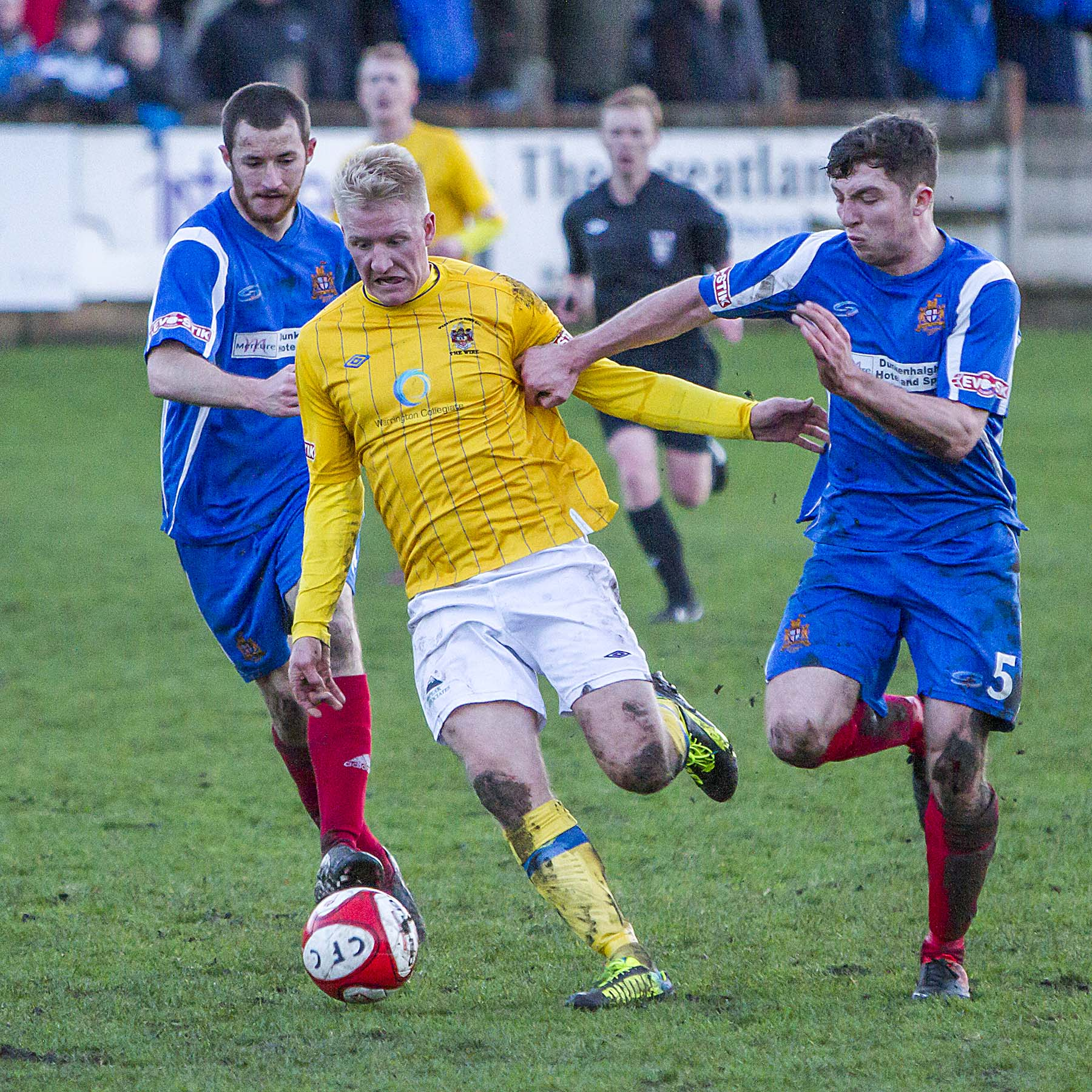 Ben Wharton back in action for Warrington Town at Clitheroe. Picture by John Hopkins